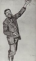Agitator (Man with arm raised), 1906, kustodiev