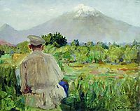 At the sketches (At the foothills), kustodiev
