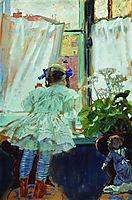 At the window. Portrait of I.B. Kustodieva, 1910, kustodiev