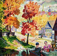Autumn in the province. Teatime, 1926, kustodiev