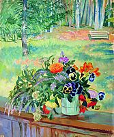A Bouquet of Flowers on the Balcony, 1924, kustodiev