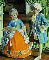 Children in the costumes, 1909, kustodiev