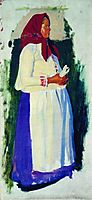 Etude of peasant for unpreserved picture From Church, 1905, kustodiev