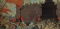 Festivities Marking the Opening of the Second Congress of the Comintern and Demonstration on Uritsky (Palace) Square in Petrograd on July 19th 1920, 1921, kustodiev