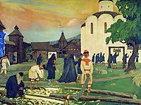 In the monastery, 1907, kustodiev