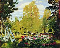 Landscape with a flowerbed, 1917, kustodiev