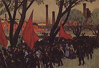 May Day demonstration in Putilov, 1906, kustodiev