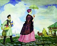 Mercahnt-s Wife with Purchases, 1920, kustodiev
