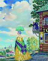 Merchant-s wife on the promenade, 1920, kustodiev