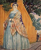 Merchant-s wife on the promenade, 1920, kustodiev