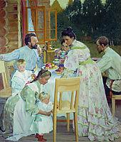 On the Terrace , 1906, kustodiev