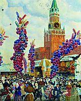 Palm market with Spassky Gate, 1917, kustodiev