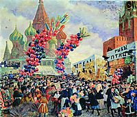 Palm Sunday near the Spassky Gate on the Red Square in Moscow, 1917, kustodiev