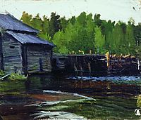 Pavlov-s mill on the river Yahrust, 1905, kustodiev