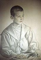 Portrait of Dmitri Dmitrievich Shostakovich  as a Child , 1919, kustodiev