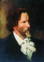 Portrait of Ilja Repin  , 1902, kustodiev