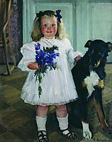 Portrait of Irina Kustodiev with the dog Shumka, 1907, kustodiev