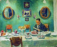 Portrait of M.V. Dobuzhinsky at the table, 1913, kustodiev