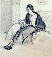 Portrait of O.P. Myasoedova, 1920, kustodiev