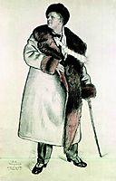 Portrait of the Opera Singer Feodor Ivanovich Chaliapin  , 1921, kustodiev