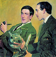 Portrait of Peter Kapitza and Nikolai Semyonov , 1921, kustodiev