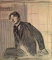 Portrait of the poet Sergey Gorodetsky, 1907, kustodiev