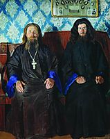 Portrait of a priest and a deacon , 1907, kustodiev