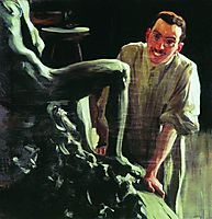 Portrait of a sculptor and painter D.S. Stelletsky, 1901, kustodiev