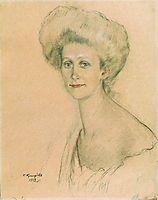 Portrait of T.F. Davydova, 1912, kustodiev
