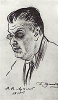 Portrait of V. Luzhsky, 1915, kustodiev