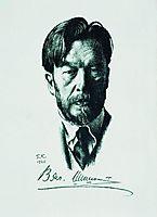 Portrait of V. Shishkov, 1926, kustodiev