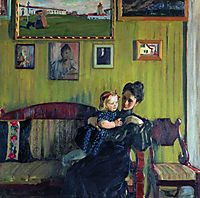 Portrait of Y.E. Kustodieva with daughter Irina, 1908, kustodiev