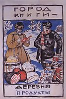 Sketch of Poster City gives Book - Village gives Products, 1925, kustodiev