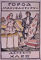 Sketch of Poster City gives Textiles - a Village gives Bread, 1925, kustodiev