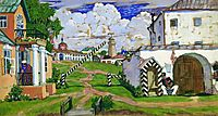 Square at the exit of the city, 1911, kustodiev