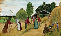 Threshing, 1908, kustodiev