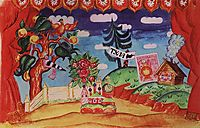 Tula. Stage design for E. Zamyatin-s play, -The Flea- , 1925, kustodiev