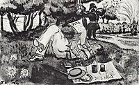 Vasiliy Luzhsky on vacation in London-s Hyde Park, 1914, kustodiev