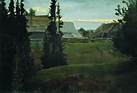 Village Maureeno, Kostroma, 1905, kustodiev
