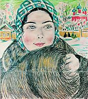 A young merchant-s wife in the a checkered scarf, 1919, kustodiev