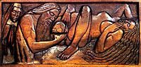 Birth, wooden bed panel, 1894, lacombe