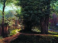 Landscape with trees, houses and river, 1878, lagorio