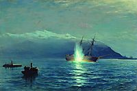 Sinking  the Turkish steamer -Intibach- by boats of ship -Grand Duke Constantine- in the Batumi raid on the night of January 14, 1878, 1880, lagorio