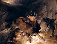 Deer and Deer Hounds in a Mountain Torrent, 1832, landseer