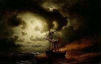 Burning Steamship, 1857, larson