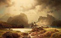Fjord landscape in Norway, 1860, larson
