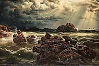 Kustlandskap med fartyg vid horisonten, 1859, larson