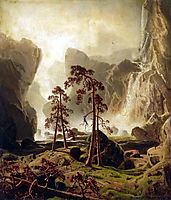 Mountains and a Waterfall, 1851, larson
