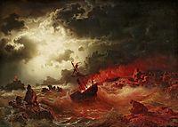 Nattlig marin med brinnande fartyg, larson