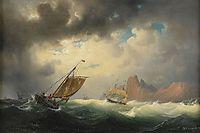 Skepp på stormigt hav, 1852, larson
